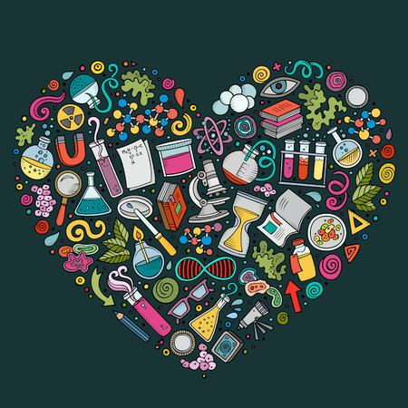 science symbols: Colorful vector hand drawn set of Science cartoon doodle objects, symbols and items. Heart form composition