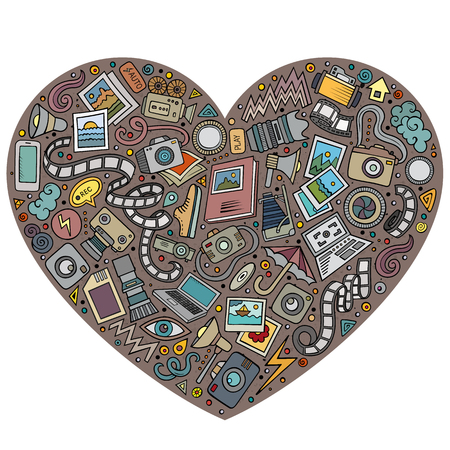 Colorful vector hand drawn set of Photo studio cartoon doodle objects, symbols and items. Heart form composition