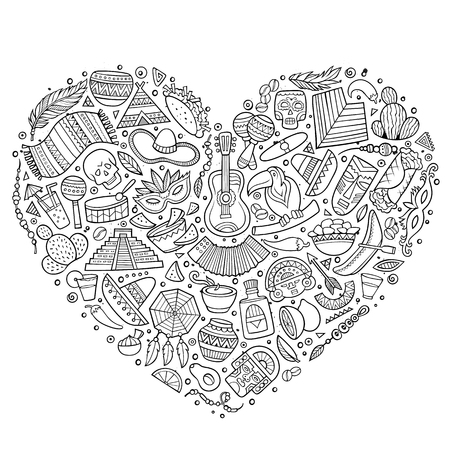 machu picchu: Line art vector hand drawn set of Latin American cartoon doodle objects, symbols and items. Heart form composition