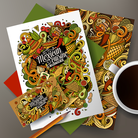 country kitchen: Cartoon cute vector hand drawn doodles Mexican food corporate identity set. Templates design of business card, flyers, posters, papers on the table.