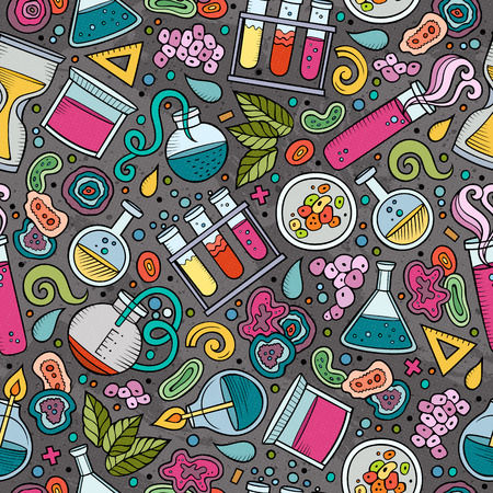 science scientific: Cartoon cute hand drawn Science seamless pattern. Colorful detailed, with lots of objects background. Endless funny vector illustration. Bright colors scientific backdrop.