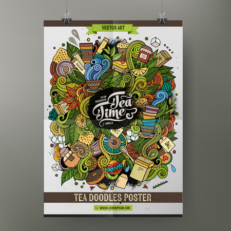 teatime: Cartoon hand drawn doodles Tea poster template. Very detailed, with lots of objects illustration. Funny vector artwork. Corporate identity design