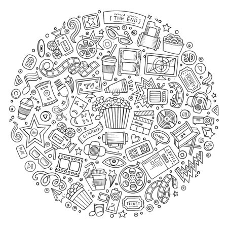 cinematograph: Line art vector hand drawn set of Cinema cartoon doodle objects, symbols and items. Round composition