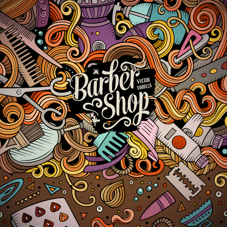 Cartoon cute doodles hand drawn Hair salon frame design. Colorful detailed, with lots of objects background. Funny vector illustration. Bright colors border with Barber shop items