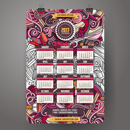 Cartoon colorful hand drawn doodles Manicure 2017 year calendar template. English, Sunday start. Very detailed, with lots of objects illustration. Funny vector artwork