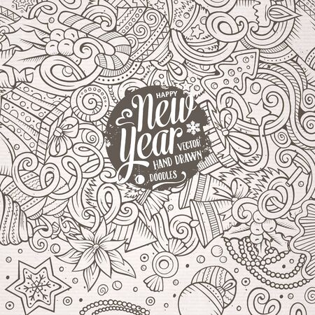 new year border: Cartoon cute doodles hand drawn Happy New Year frame design. Sketch detailed, with lots of objects background. Funny vector illustration. Line art border with Christmas items Illustration