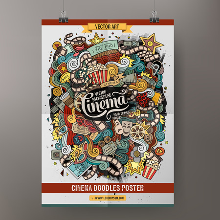 blockbuster: Cartoon colorful hand drawn doodles cinema poster template. Very detailed, with lots of objects illustration. Funny vector artwork. Corporate identity design.