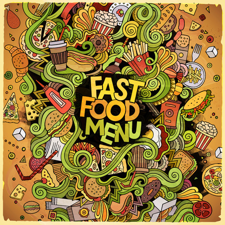fastfood: Cartoon cute doodles hand drawn Fastfood illustration. Colorful detailed, with lots of objects background. Funny vector artwork. Bright colors picture with fast food theme items