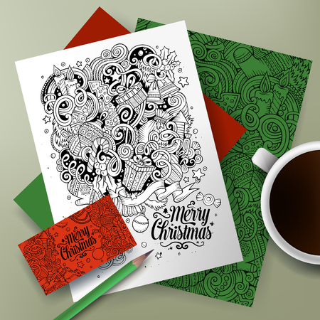 identity card: Cartoon cute line art vector hand drawn doodles New Year corporate identity set. Templates design of business card, flyers, posters, papers on the table