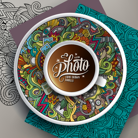 plate camera: Vector illustration with a Cup of coffee and hand drawn Photo doodles on a saucer, on paper and on the background