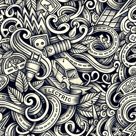 zero emission: Cartoon doodles Electric cars season seamless pattern. Graphics detailed, with lots of objects background. Endless raster illustration Stock Photo