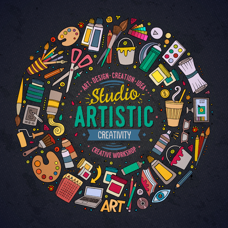 Colorful  set of Art cartoon doodle objects, symbols and items. Round frame composition Illustration