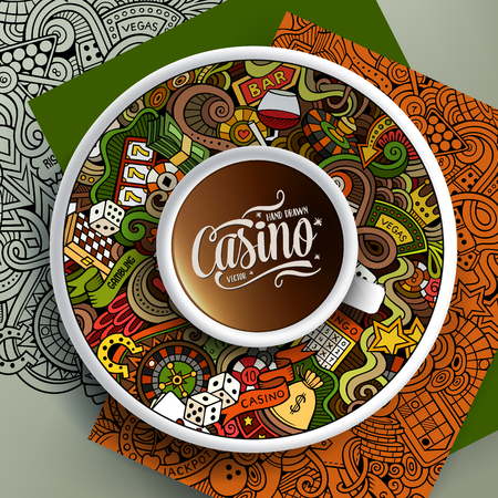 gambling chips: illustration with a Cup of coffee and  Casino doodles on a saucer, on paper and on the background Illustration