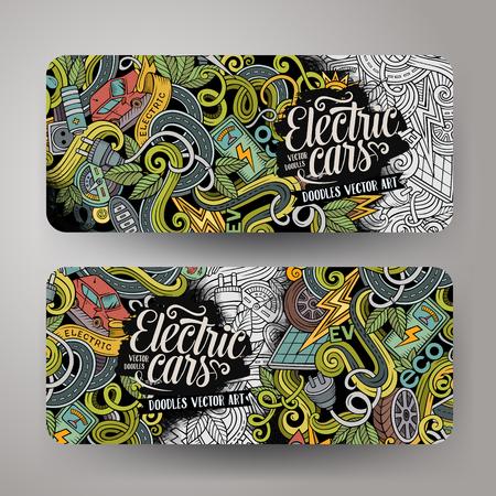 zero emission: Cartoon cute colorful  doodles electric cars corporate identity. 2 horizontal banners design. Templates set