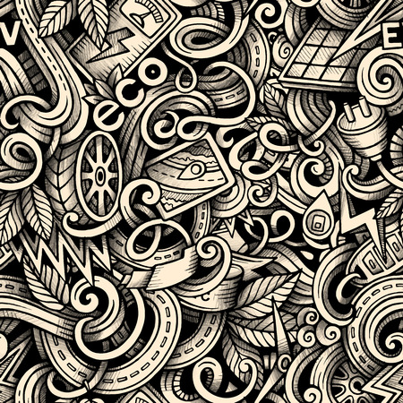 zero emission: Cartoon trace doodles Electric cars season seamless pattern. Graphics detailed, with lots of objects background. Endless illustration