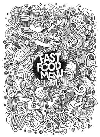 steak plate: Cartoon cute doodles  Fastfood illustration. Line art detailed, with lots of objects background. Funny artwork. Sketch picture with fast food theme items