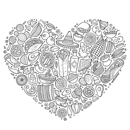 composition art: Line art set of Mexican food cartoon doodle objects, symbols and items. Heart form composition