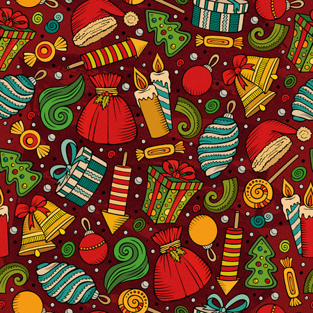xmass: Cartoon cute Xmass seamless pattern. Colorful with lots of objects background. Endless funny vector illustration