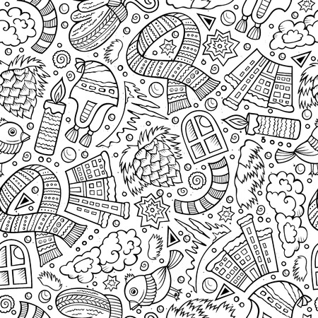 warm drink: Cartoon cute  Winter season seamless pattern. Sketchy detailed, with lots of objects background. Endless funny illustration. Line art backdrop
