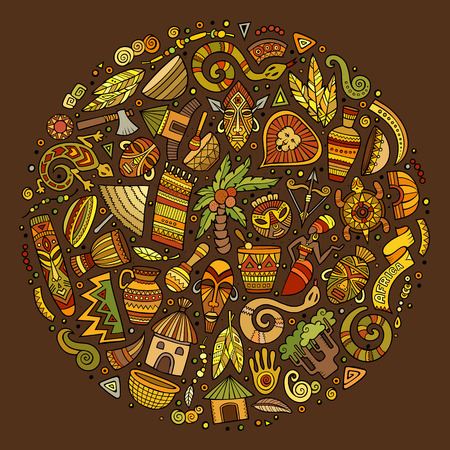 Colorful set of Africa cartoon doodle objects, symbols and items. Round composition