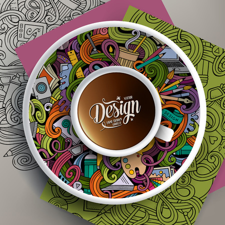 illustration with a Cup of coffee and drawn Design doodles on a saucer, on paper and on the background Illustration