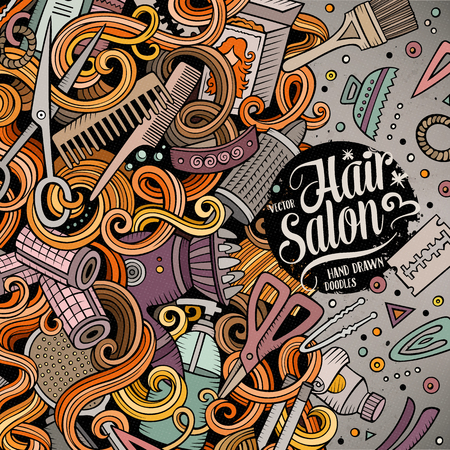 hair colors: Cartoon cute doodles Hair salon frame design. Colorful detailed, with lots of objects background. Funny illustration. Bright colors border with Barber shop items Illustration