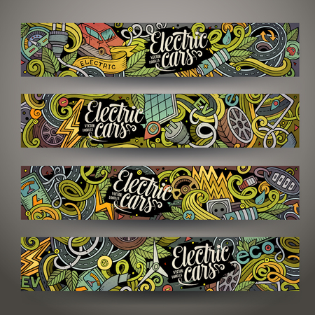 electricity: Cartoon cute colorful  drawn doodles electric cars corporate identity. 4 horizontal banners design. Templates set