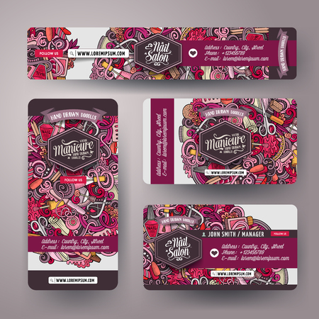 Corporate Identity templates set design with doodles drawn Nail salon theme. Colorful banner, id cards, flayer design. Templates set