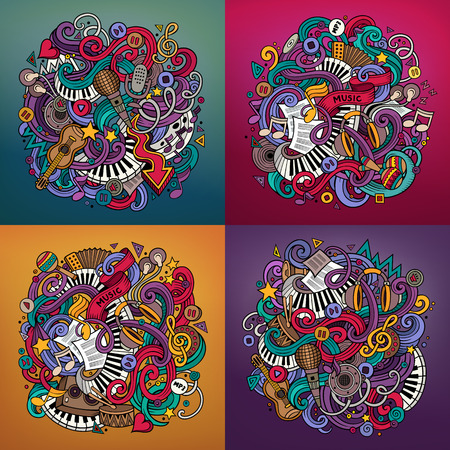 Music cartoon drawn doodle illustration. Colorful detailed designs with lot of objects and symbols. 4 square composition backgrounds set