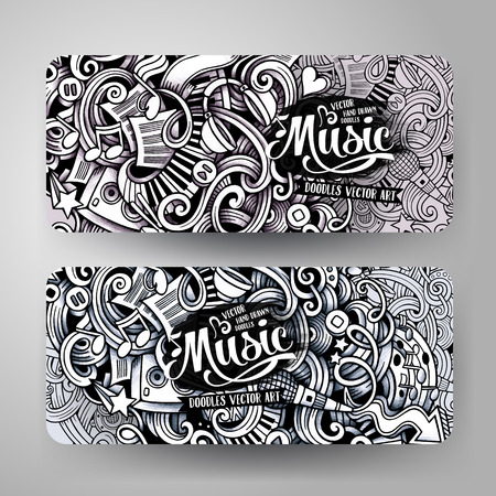 doodling: Graphics drawn sketchy trace Music Doodle horizontal banner. Design templates set