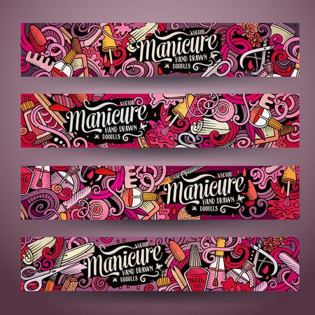 Cartoon cute drawn doodles Nail salon corporate identity. 4 horizontal banners design. Templates set