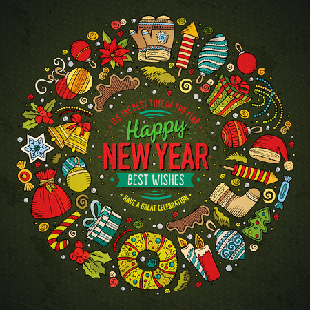 Colorful drawn set of New Year cartoon doodle objects, symbols and items. Round frame composition