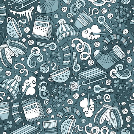 line pattern: Cartoon cute drawn Winter season seamless pattern. Line art detailed, with lots of objects background. Endless funny illustration. Sketch backdrop Illustration