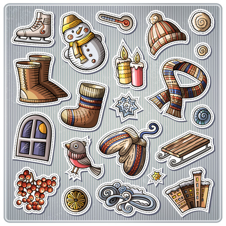 collection series: Set of Winter season cartoon stickers.drawn objects and symbols collection. Label design elements. Happy holidays. Cute patches, pins, badges series. Comic style.
