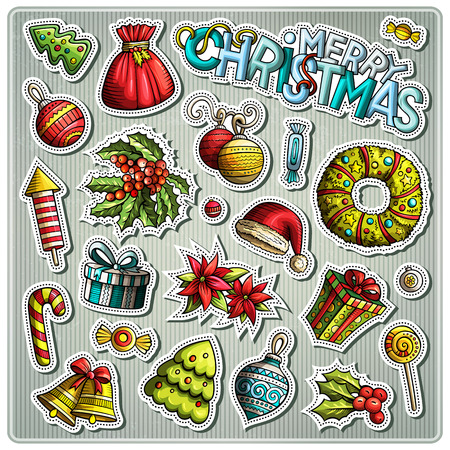 collection series: Set of New Year season cartoon stickers.  drawn objects and symbols collection. Label design elements. Happy holidays. Cute patches, pins, badges series. Comic style.