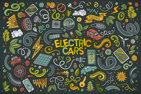zero emission: Colorful  drawn doodle cartoon set of Electric cars objects and symbol Illustration