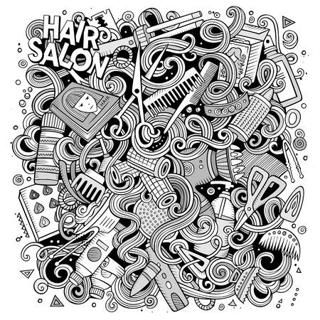 Cartoon simpatici disegnini Parrucchiere illustrazione. Line art dettagliato, con un sacco di oggetti di sfondo. opere d'arte divertente. immagine Sketchy con elementi del negozio di barbiere Vettoriali