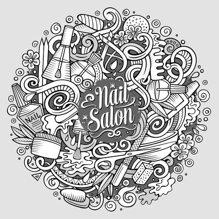 cuticle: Cartoon cute doodles drawn Nail salon illustration. Sketchy detailed, with lots of objects background. Funny artwork. Line art picture with Manicure theme items