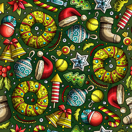 xmass: Cartoon cute drawn Xmass seamless pattern. Colorful with lots of objects background. Endless funny illustration