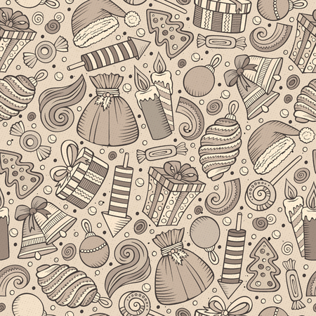xmass: Cartoon cute drawn Xmass seamless pattern. Line art with lots of objects background. Endless funny illustration