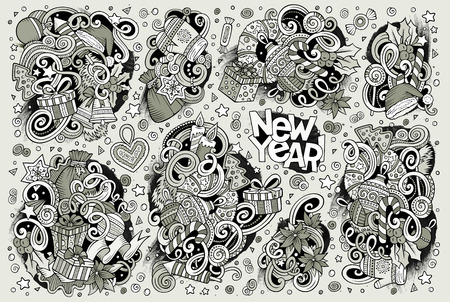 christmas objects: Line art drawn doodle cartoon set of New Year and Christmas objects and symbols