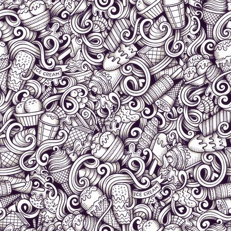 Cartoon  ice cream doodles seamless pattern. Line art detailed, with lots of objects raster background