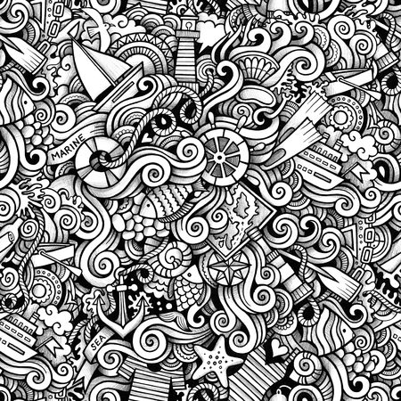 maillot de bain: Cartoon  marine nautical doodles seamless pattern. Line art detailed, with lots of objects raster background Banque d'images