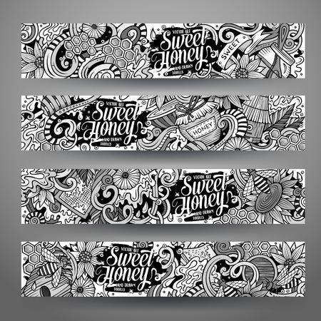 beekeeper: Cartoon cute sketchy vector hand drawn doodles Honey corporate identity. 4 horizontal banners design. Templates set Illustration