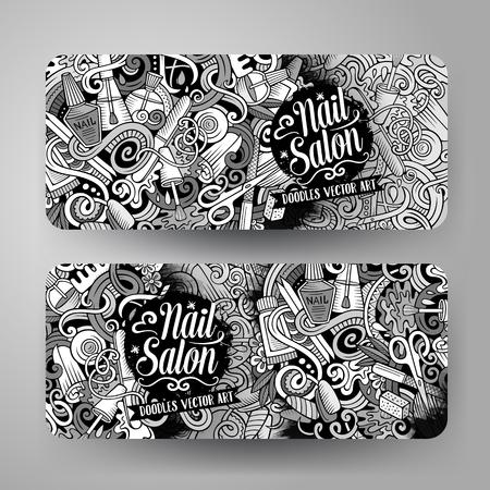 Cartoon cute vector hand drawn doodles Nail salon corporate identity. 2 horizontal banners design. Templates set