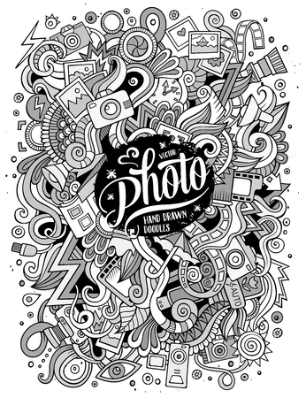 strap: Cartoon cute doodles hand drawn Photo illustration. Line art detailed, with lots of objects background. Funny vector artwork Illustration