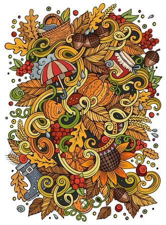 autumn season: Cartoon cute doodles hand drawn autumn illustration. Colorful detailed, with lots of objects background. Funny vector artwork. Bright colors picture with fall season theme items Illustration