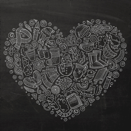 Chalkboard vector hand drawn set of Winter cartoon doodle objects, symbols and items. Heart form composition Illustration