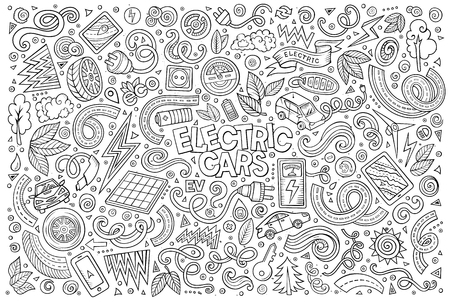 zero emission: Line art vector hand drawn doodle cartoon set of Electric cars objects and symbol Illustration