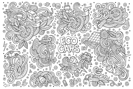 electric line: Line art vector hand drawn doodle cartoon set of Electric cars objects and symbol Illustration